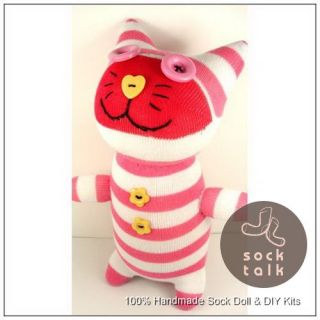 Handmade Pink White Striped Sock Monkey Cat Stuffed Animals Doll Baby Toy