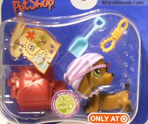 Littlest Pet Shop Target Store Only Dachshund Pirate Dog 307 Dog Toys
