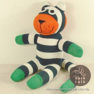 Handmade Black Striped Sock Monkey Tiger Stuffed Animals Doll Baby Toy