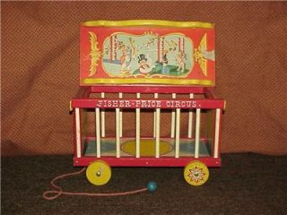 1962 Wood Fisher Price Circus with Animals Equipment Ringmaster Clown Pull Toy