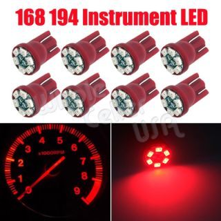 8x Brilliant Red T10 6 SMD Instrumental Speedometer Gauge Cluster LED Light Bulb