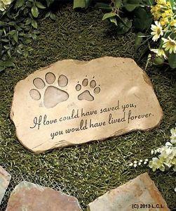 Paw Print Pet Memorial Stone in Stock Dog Cat Garden Grave Animal Yard