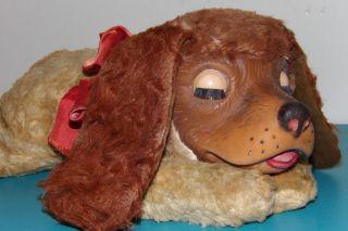 Vintage Gund Stuffed Plush Regal Beagle Rubber Face Dog with Bow Sleepy Eyes NR