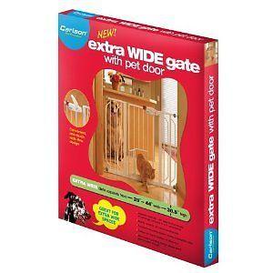 Carlson 0930PW Extra Wide Walk thru Baby Child Safety Gate with Pet Door White