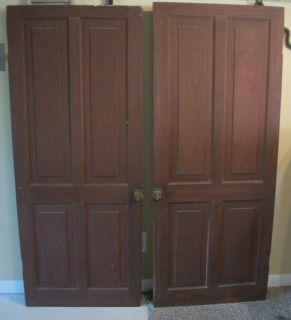 Antique 2 Wood Kitchen Pantry Doors Cupboard Doors Saloon Doors Red Burgundy