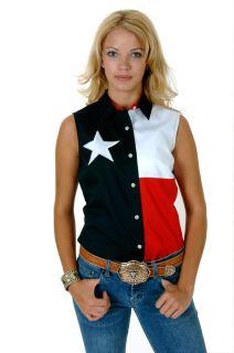 Roper Ladies Shirt Red White Navy Sleeveless Texas Flag Design Cotton 0201