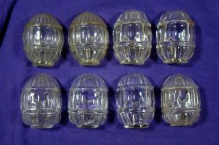 Eight Vintage Clear Glass Bird Water Feeders Water Bowls for Bird Cages