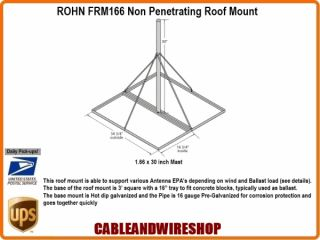 "Rohn Non Pen Penetrating Antenna Mast Roof Mount 30"" x 1 66"" inch OD"