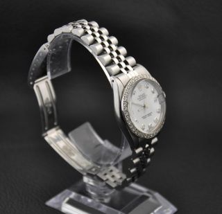 Ladies Rolex Datejust Oyster Perpetual Chronometer SS Diamond Watch Ref 6827