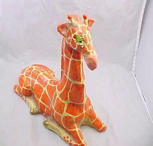 Fabulous Vintage Signed Alvarez Mexican Paper Mache Giraffe Mexican Folk Art