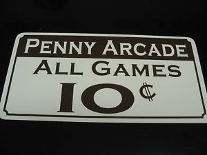 "Vintage Style ""Penny Arcade"" Sign Game Carnival Pinball"