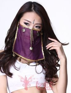 New Chiffon Hanging Coin Belly Dance Face Scarf Clothing Accessories Costume 1pc