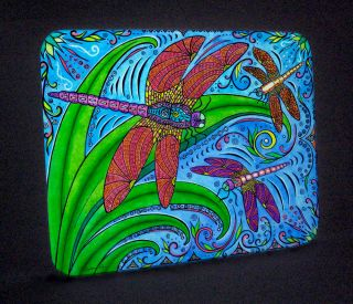 Dancing Dragonflies Hot Plate Tempered Glass Cutting Board Beach Art