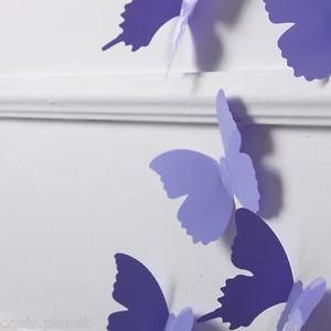 Purple 3D Butterflies Wall Stickers Docors Art Decorations Paper