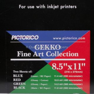 Pictorico Gekko Inkjet Paper Sampler 8 5x11 Fine Art Inkjet Paper