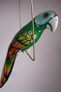 Large Paper Mache Hanging Bird Parrot Cockatoo Garden Decor Home Folk Art Green