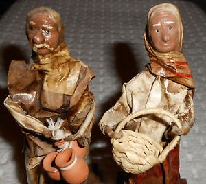 Old Man Woman Paper Mache Figurines Clay Pots Basket Mexican Folk Art Vtg Set 2