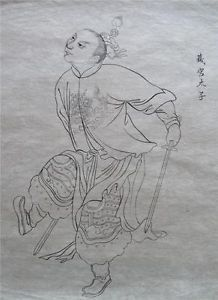 Antique Chinese Art Rice Paper Ink Drawing Chinese Warrior with Swords China