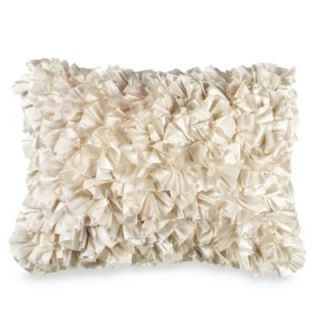 Extreme Ruffles 15 Inch x 20 Inch Decorative Toss Pillow in Ivory