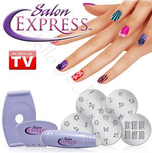 Professional Nail Art Stamping Kit Finger Stencil Salon Express 100 Designs DIY