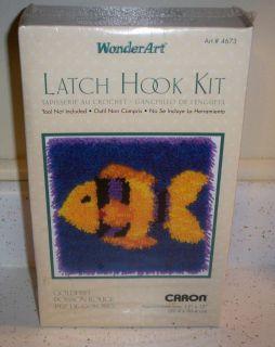 "SEALED Caron Wonder Art Goldfish Latch Hook Kit 12"" x 12"""