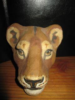 Vintage Lion Paper Mache Mask Art Wall Decoration