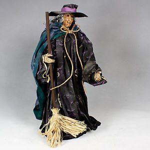 "Witch Paper Mache Art Doll Halloween Paper Sculpture Decoration Ornament 16"" Cat"