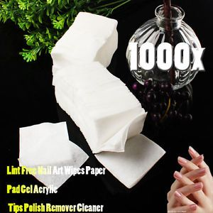 1000 Pcs Cotton Nail Art Wipes Paper Pad Gel Acrylic Tips Polish Remover Cleaner