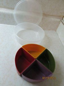Inomata Round Plastic Food Storage Container with 4 Removable Colored Sections