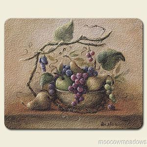 New Grape Cutting Board Kitchen Decor Fruit Glass Grapevine Tuscan Accent Art