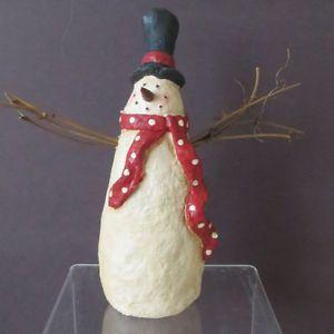 "Primitive Folk Art Paper Mache 7"" Snowman Twig Arms Top Hat Polka Dot Scarf New"