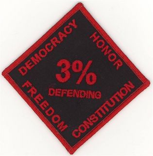 Biker 3 Percent 3 Democracy Honor Freedom Constitution Patch
