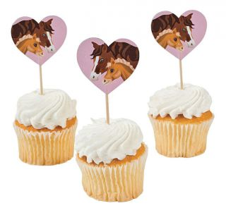 25 Horse Mare Foal Pony Western Cowgirl Cowboy Cupcake Food Picks Cake Topper