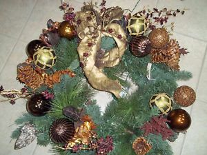 "Frontgate Palazzo Prelit Holiday Glass Ornament Christmas Door 32"" Wreath 41872"