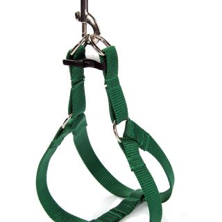 Deep Green Easy Walk Pet Dog Nylon Harness Leader with Pull Free Leashes Size M