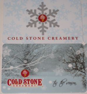 Cold Stone Creamery Lot of 4 Ice Cream Gift Cards No Value New Winter Snowflakes