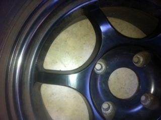 ★★★ JDM Black Racing Rim Wheel 15x114 3 Dunlop Tire Type R DC2 DB8 EK9 ★★★