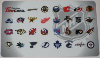 Tim Horton's Canada Gift Card Collectible No Value NHL Hockey Team Logo New 2012