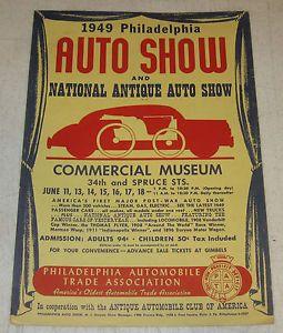 Vintage 1949 Philadelphia Auto National Antique Auto Car Show Window Poster