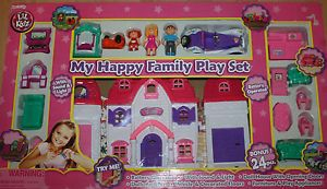 Lil Kidz My Happy Family Dollhouse Play Set Light Sound 24 Pieces Dolls Pet