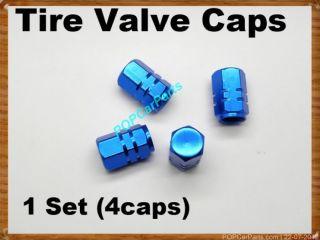 Blue 4pcs Set Car Wheel Tyre Valve Caps Tire Valve Stems Aluminum Alloy