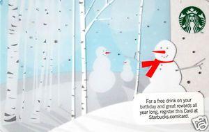 "Starbucks Christmas Gift Card ""Snowman"" Collectible No Value 2011"