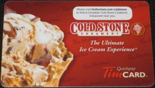 Tim Horton's Canada Cold Stone Creamery Ice Cream Collectible Gift Card No Value