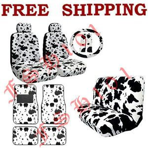 New Set Black White Cow Print Car Seat Covers Steering Wheel Cover Floor Mats
