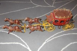 Papo Wild West Express Stagecoach 4 Horses Harnesses to Pull Stagecoach 1999