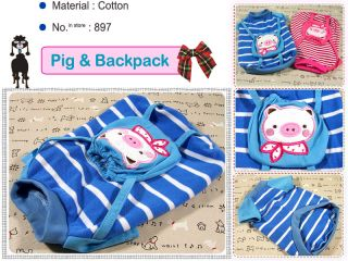 Small Dog Clothes Pig Backpack Shirts Blue Stripe 897