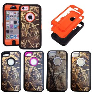 New Shockproof Hybrid Real Tree Camo Hard Soft Silicone Case for iPhone 5c 5 5S