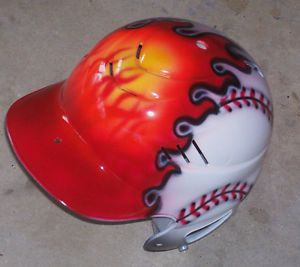 Airbrushed Flame Ball Baseball Batting Helmet New