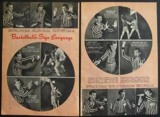 Basketball Hand Signals 1946 Bob Neu DePaul All American Vintage Pictorial