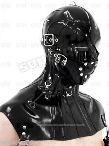 Latex Rubber 0 8mm Eye Mask Hood Neck Corset Halskorsett Costume Catsuit Suit